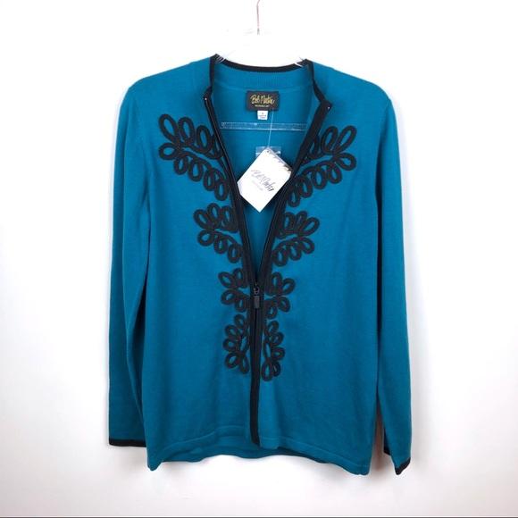 Bob Mackie Sweaters - Bob Mackie Blue & Black Zip Up Sweater Small NWT S